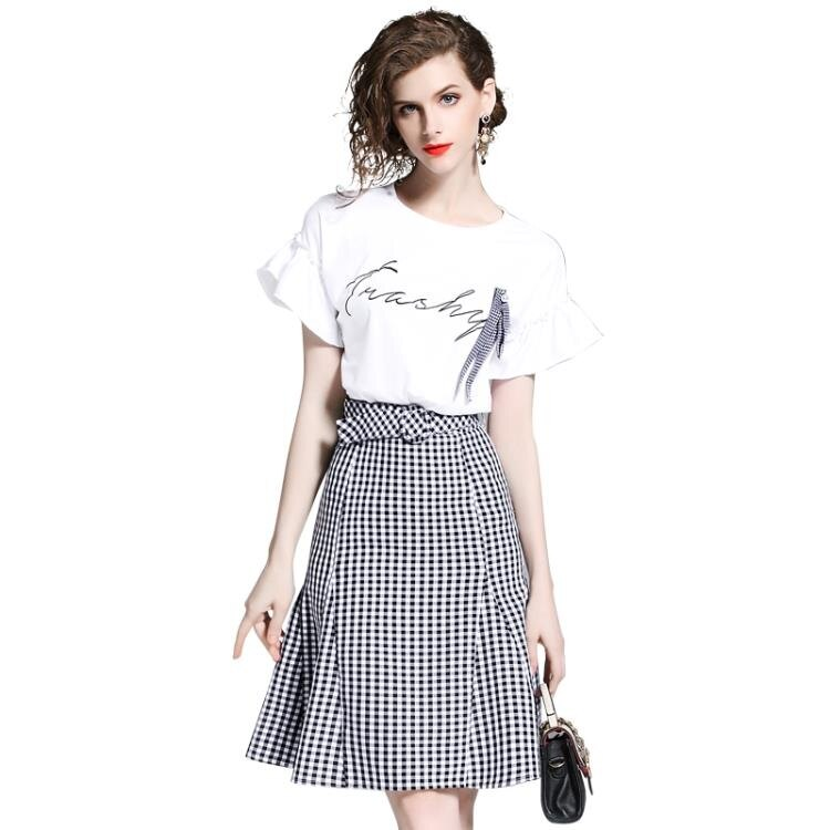 芙娜妮高腰包臀格子連衣裙兩件套 2019夏裝小清新花瓣袖t恤套裝女