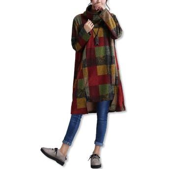 [サユサユ] ワンピース レディース チュニック 長袖 冬 ファッション あったか ひざ丈 大きいサイズ マタニティ ワンピ (グリーン M)