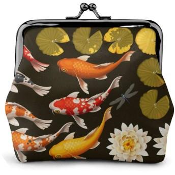 がま口 財布 小銭入れ 鯉と蓮 化粧ポーチ コインケース 収納バッグ ミニポーチ 革 レザー 大容量 柔らかい 丸形 便利 軽量 小物入れ