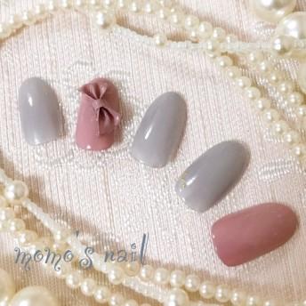 ネイルチップ リボン/結婚式/卒業式/成人式/ウエディング/ブライダル/灰/ドレス/振袖/