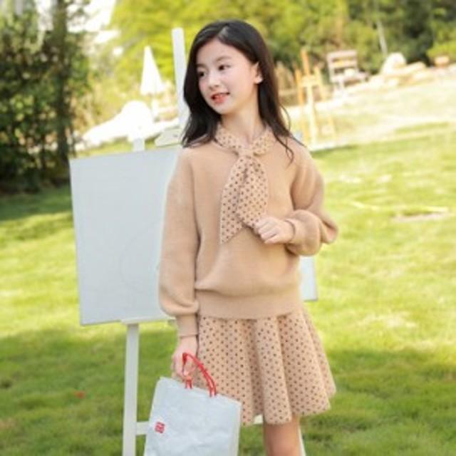 女の子のスーツのスカートの2019新型の韓国版の秋冬の子供服の洋風の中で大きい子供のまねるミンクの?毛のセーターの2つのセット