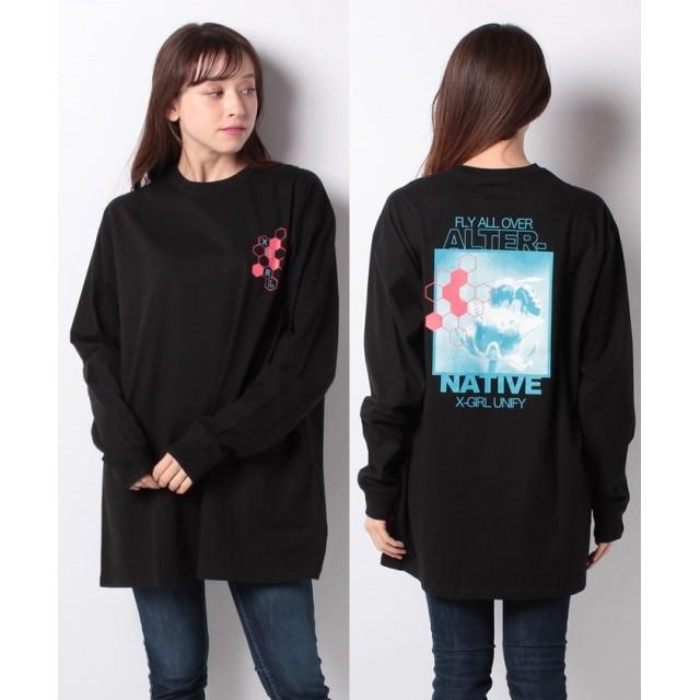 エックスガール HONEYCOMB L/S BIG TEE DRESS レディース ブラック ONE SIZE 【X-girl】