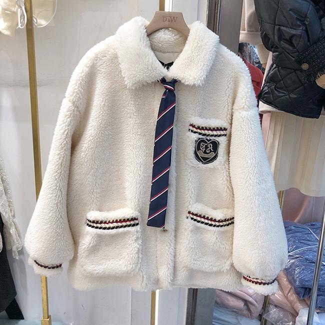 FOFU-刷毛外套學院風刺繡拼領帶毛絨刷毛外套【08G-F0992】