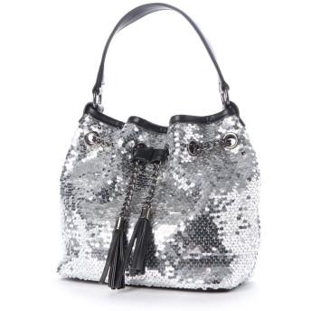 ヴィータフェリーチェ VitaFelice スパンコールバッグ 巾着 ショルダー バッグ ミニトートバッグ レディースバッグ 二次会 パーティーバッグ (SILVER)
