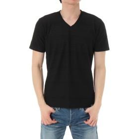 [アズールバイマウジー] tシャツ 【MEN'S】ジャガードボーダー天竺半袖VネックT 251BST80-115C S ブラック メンズ