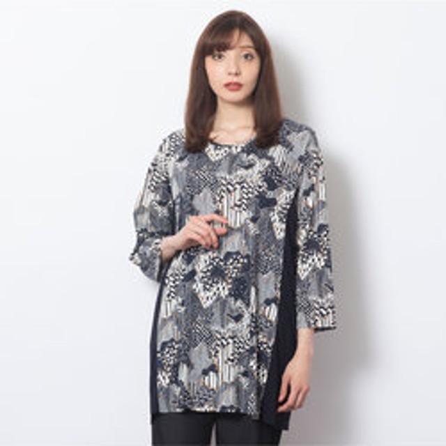 【Junior online shop:トップス】強撚スムース・モダンキカ柄Tシャツ