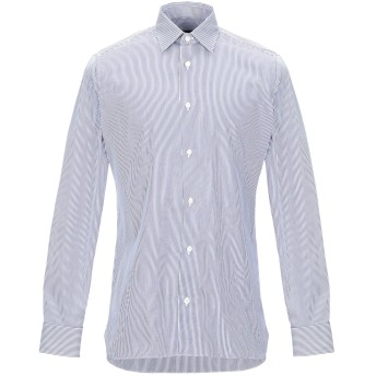 《セール開催中》ZZEGNA メンズ シャツ ダークブルー 39 コットン 100%