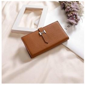 QH 財布、女性の財布長財布財布ハンドバッグレザー大容量マルチカードレザーカードパッケージ (Color : Brown)