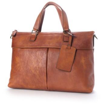 ヴィータフェリーチェ VitaFelice ビジネスバッグ 本革 イタリアンレザー メンズ 2way 大容量 斜め掛け ショルダーバッグ 出張バッグ 旅行バッグ (CAMEL)