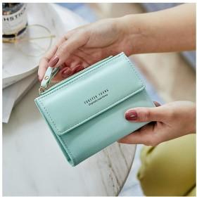 GY 女性のための財布、盗難防止ブラシ財布、ショートなめらかなミニマコインホルダー、アンチ消磁カードパッケージ (Color : Green)