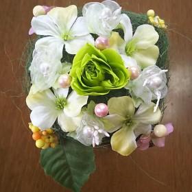 プリザーブドフラワー 緑の薔薇 ブラウンの花器