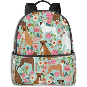 ボクサー犬の花花柄ミントかわいい花 リュック バックパックリュックサック 大容量 PCバッグ レジャーバッグ 旅行カバン 登山リュック ビジネスリュック ユニセックス おしゃれ 人気