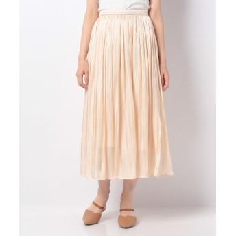 【40%OFF】 アラマンダ シャイニーサテンギャザースカート レディース アイボリー 38 【allamanda】 【セール開催中】