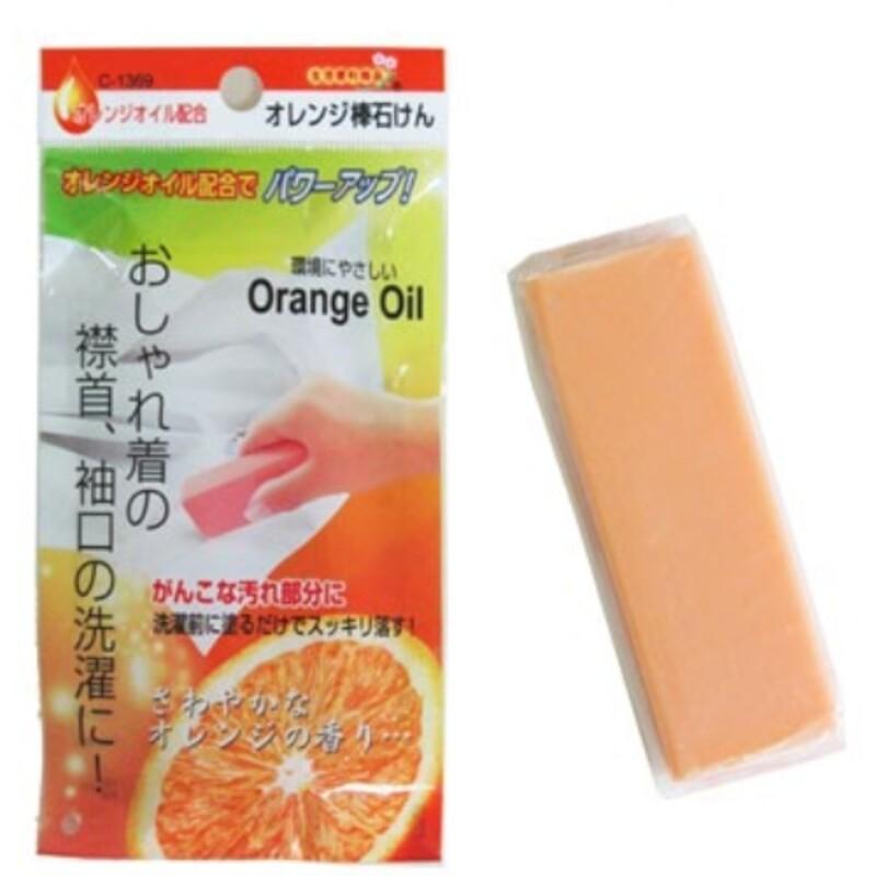 日本製 不動化學 天然橘子油 衣領 袖口 去污皂 orange oil 橘油強效去污棒100g