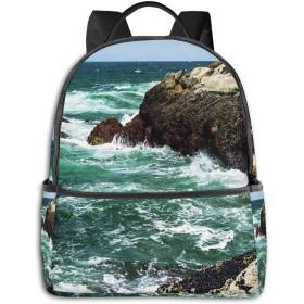 カジュアルバックパックファッションバックパック大容量学校レジャー旅行アウトドアビジネスワークコンフォートユニセックス ロッキーを打つビーチ波
