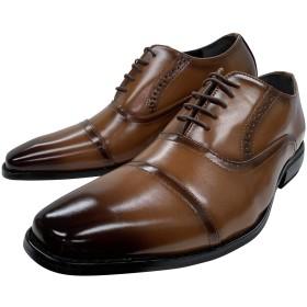 [and・more] [ アンドモア ビジネスシューズ メンズ 防滑 紳士靴 仕事用 通気性 軽量 内羽根 ロングノーズ ウォーキング 低反発インソール 幅広 3E 大きいサイズ 3タイプ 2色【 25cm ~ 28cm 】(28.0cm,1502-ブラウン)