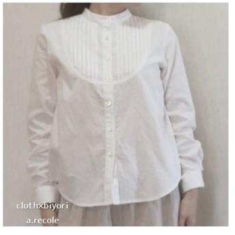 コットンリネンピンタックシャツ(ホワイト)L