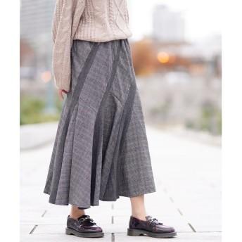 GIORDANOL [GIORDANO]パッチワークフレアスカート(ブラック系)【返品不可商品】