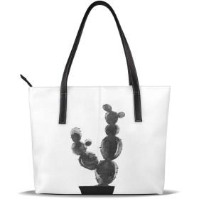 トートバッグ キャリーバッグ ショルダーバッグ 手提げ サボテン 盆栽 白黒 花 草 植物 ラベルバッグ レディーズ ト カバン カジュアル フォマール