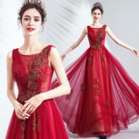 【ANGEL】ノースリーブ肌透けラメチュールフラワービジュー背中編上げAラインロングドレス【送料無料】高品質 レッド 赤 ロングドレス