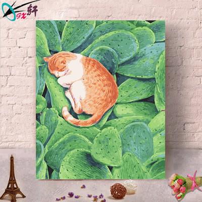 台灣現貨數字油畫40×50.第三代彩色畫布和雙顏料。6支畫筆 -沉睡的貓