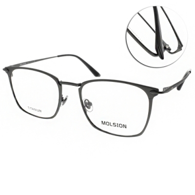 MOLSION 陌森 光學眼鏡 金屬細圓框款 黑 金 MJ1003 B12