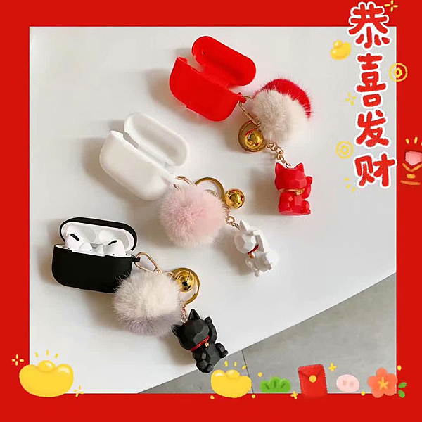 蘋果 AirPods 保護套 AirPods 毛球積木貓 Apple藍牙耳機盒 保護殼