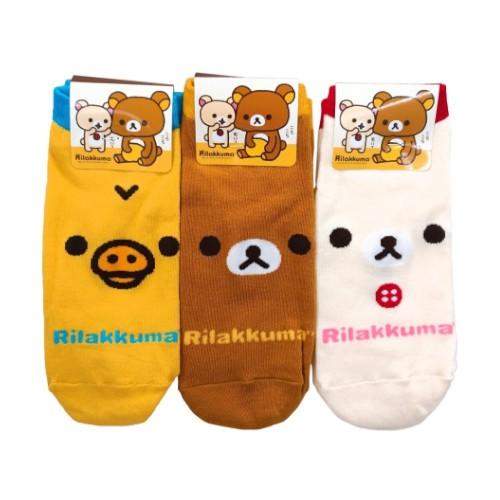 (買就送)韓國襪 拉拉熊Rilakkuma大臉系列襪子(1組3雙)