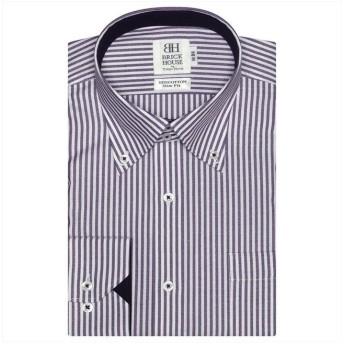 トーキョーシャツ ワイシャツ長袖形態安定 ボタンダウン綿100% パープル系 スリム メンズ パープル S-80 【TOKYO SHIRTS】