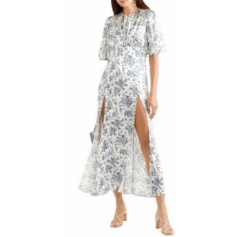 レ レヴェリズ LES REVERIES レディース ワンピース マキシ丈 ワンピース・ドレス Floral-print silk-satin maxi dress White