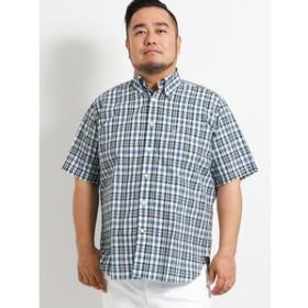 【GRAND-BACK:トップス】【大きいサイズ】ポロ/POLO サッカーチェック半袖ボタンダウンシャツ