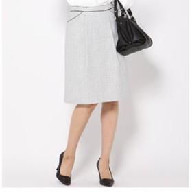 【J Lounge:スカート】【抗菌・防臭機能】ラメツイードタックフレアスカート