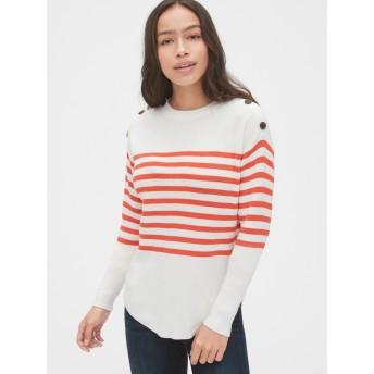 Gap ストライプボタン クルーネックセーター