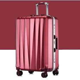 GzPuluz キャリーバッグ 24インチスーツケースメスプルロッドケースユニバーサルホイールPCトラベルスーツケース トラベルバッグ (色 : Red)
