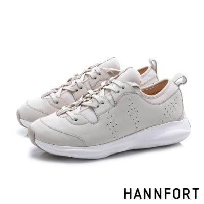 HANNFORT BUBBLES 真皮拼接反光條厚底跑鞋-女-米白