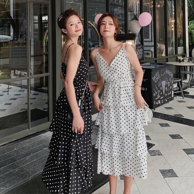 吊帶連衣裙2019新款夏很仙的法國小眾閨蜜蛋糕小清新長裙子超仙女