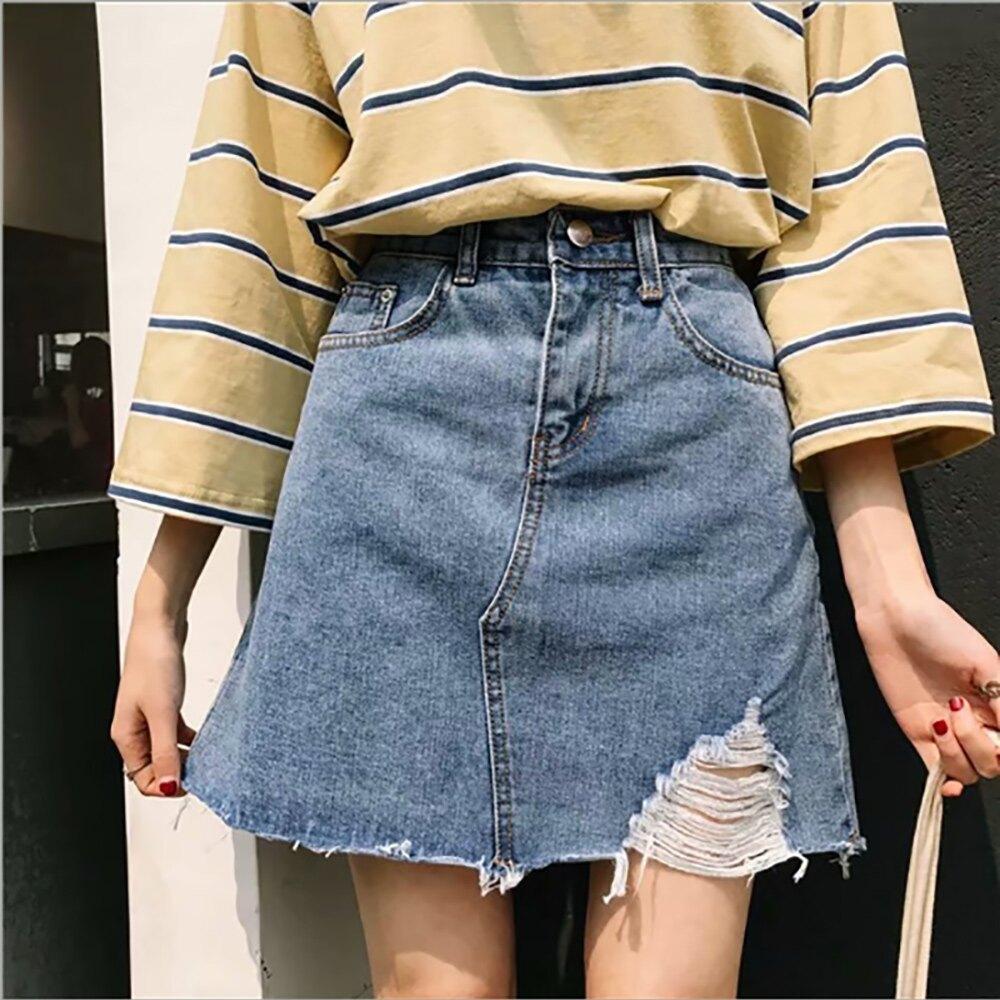 中大尺碼女裝_高腰刷破磨邊牛仔裙 XL-5XL (D731)