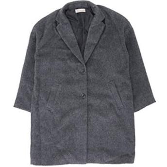(ハッピーマリリン) 大きいサイズ レディース シャギー素材 長袖 ゆるめ チェスターコート 【447022】5L-6L(タグ3)/杢チャコール