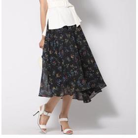 【J Lounge:スカート】ボタニカルシフォンフレアスカート