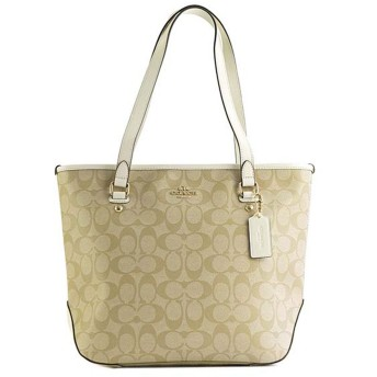 コーチ COACH TOTE BAG (LIGHT KHAKI/WHITE)