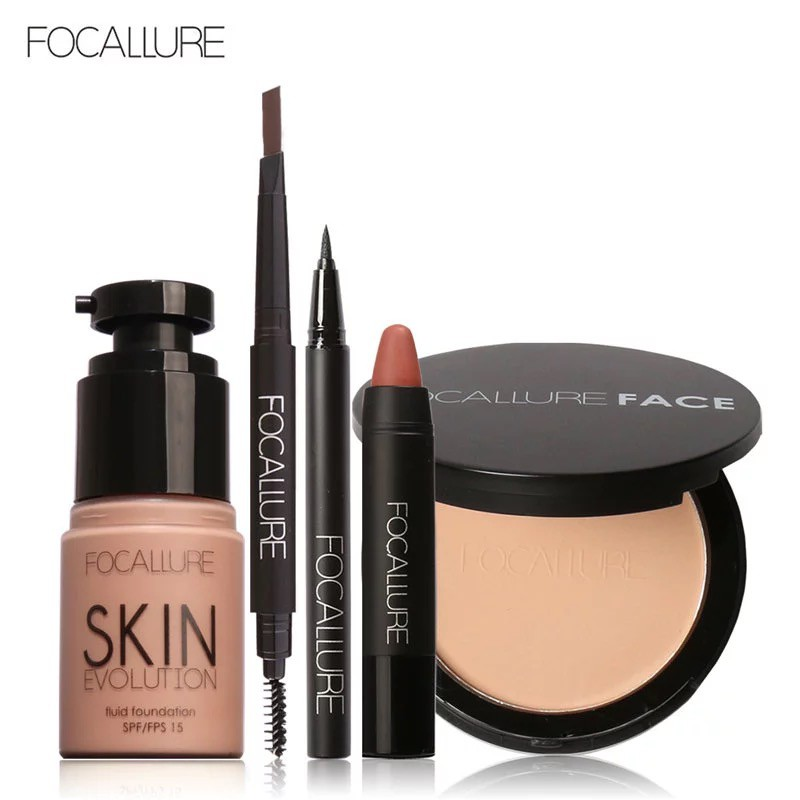 FOCALLURE菲鹿兒 化妝組合套裝 持久粉底液 眉筆 粉餅眼線筆 啞光口紅5件套 彩妝組合