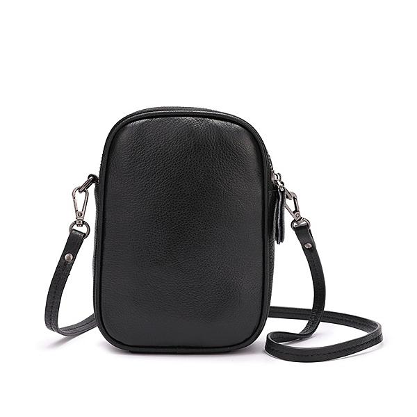 真皮肩背包-黑色簡約雙層手機包男女側背包73wp2【時尚巴黎】