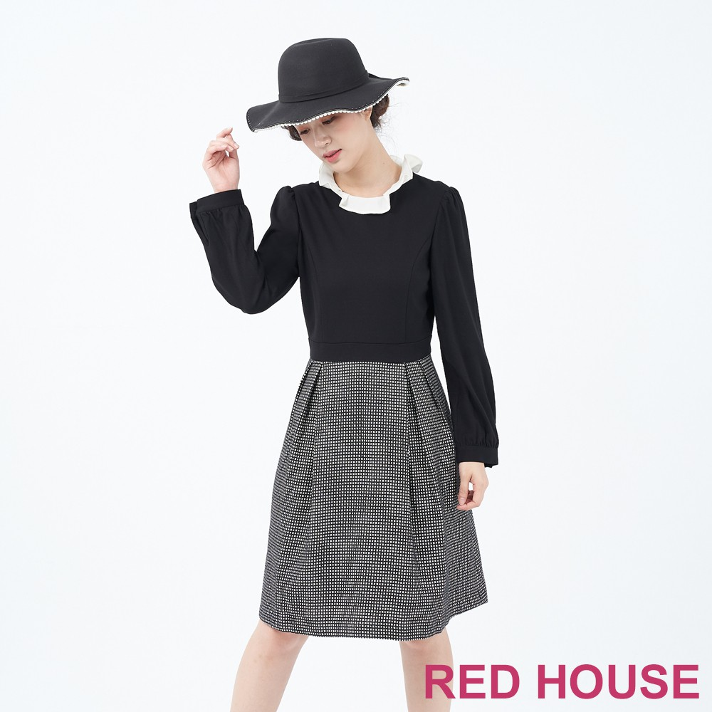 【RED HOUSE 蕾赫斯】羊毛細格紋洋裝(黑色)