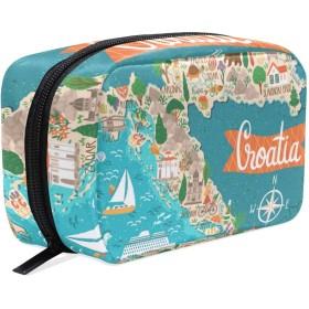 GUKISALA 化粧ポーチ,ベクトル様式化された地図クロアチア旅行イラスト,大容量コスメケース多機能旅行用高品質収納ケース メイク ブラシ バッグ 化粧バッグ ファッションバッグ