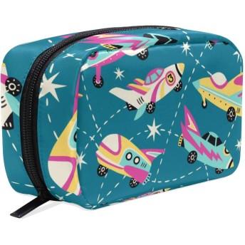 GUKISALA 化粧ポーチ,ビンテージスペース車のシームレスなベクターパターン,大容量コスメケース多機能旅行用高品質収納ケース メイク ブラシ バッグ 化粧バッグ ファッションバッグ