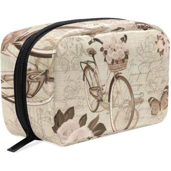 GUKISALA 化粧ポーチ,ヴィンテージはがきFlowersbutterfly自転車,大容量コスメケース多機能旅行用高品質収納ケース メイク ブラシ バッグ 化粧バッグ ファッションバッグ