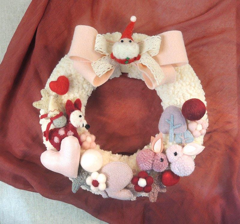療癒系羊毛氈玩偶暖暖聖誕花圈─大蝴蝶結香草甜甜圈