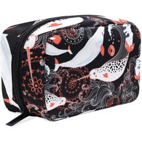 GUKISALA 化粧ポーチ,シームレスな海のパターンの美しいクジラ,大容量コスメケース多機能旅行用高品質収納ケース メイク ブラシ バッグ 化粧バッグ ファッションバッグ