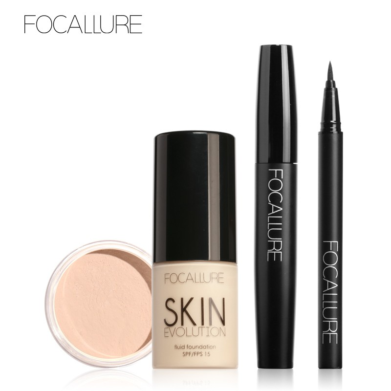FOCALLURE菲鹿兒 化妝品套裝 彩妝組合4件套 粉底液 持久防水 眼線筆 睫毛膏散粉