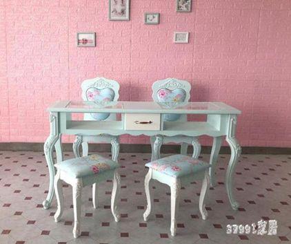 美甲桌 新款綠色烤漆 雙層 單雙三人 美甲臺 美甲桌椅套裝 LR7891  全館免運